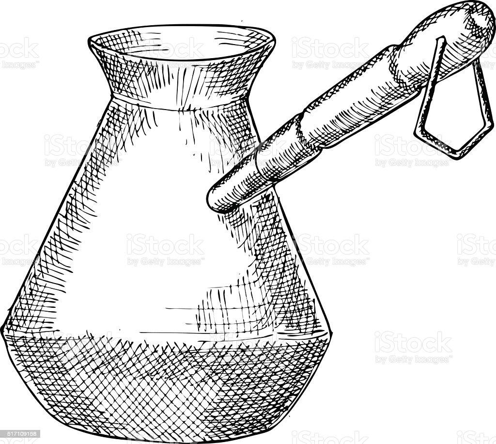 Turkish Coffee Pot Illustration vector art illustration