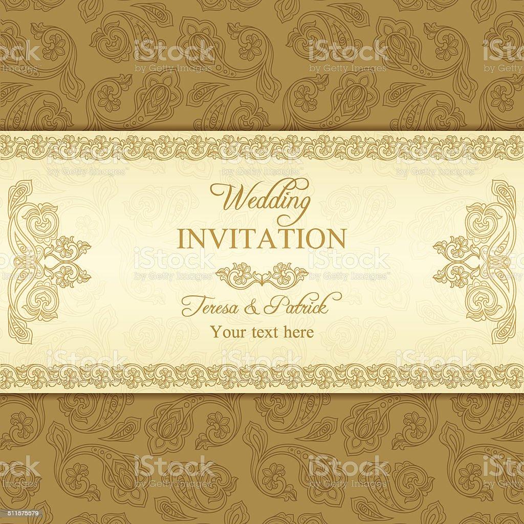 türkische gurke hochzeit einladung gold vektor illustration, Einladungsentwurf