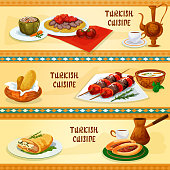 Turkish cuisine banners for restaurant menu design