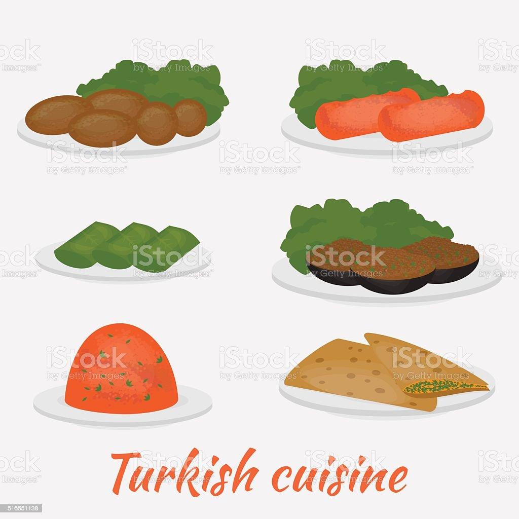 Turkish cuisine lentil salad, cutlet,  bread, stuffed eggplant andgrape leaves. vector art illustration