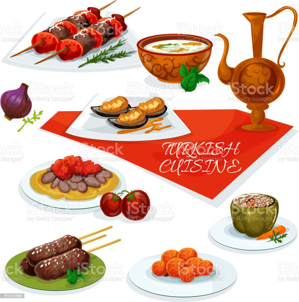 Turkish cuisine meat and vegetable dishes icon vector art illustration