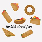 Turkish Fast food, Traditional  street food, Turkish cuisine.