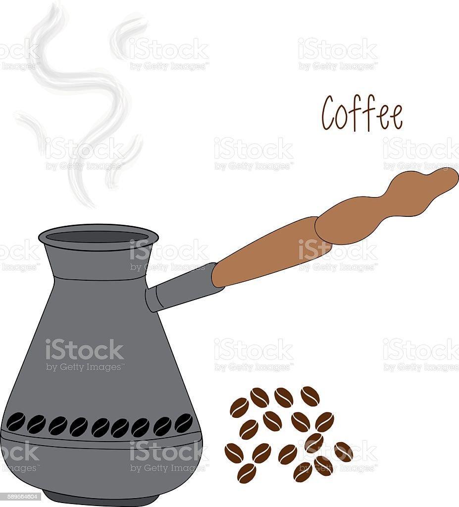 Turkish fishborn coffee pot prepared with beans vector art illustration