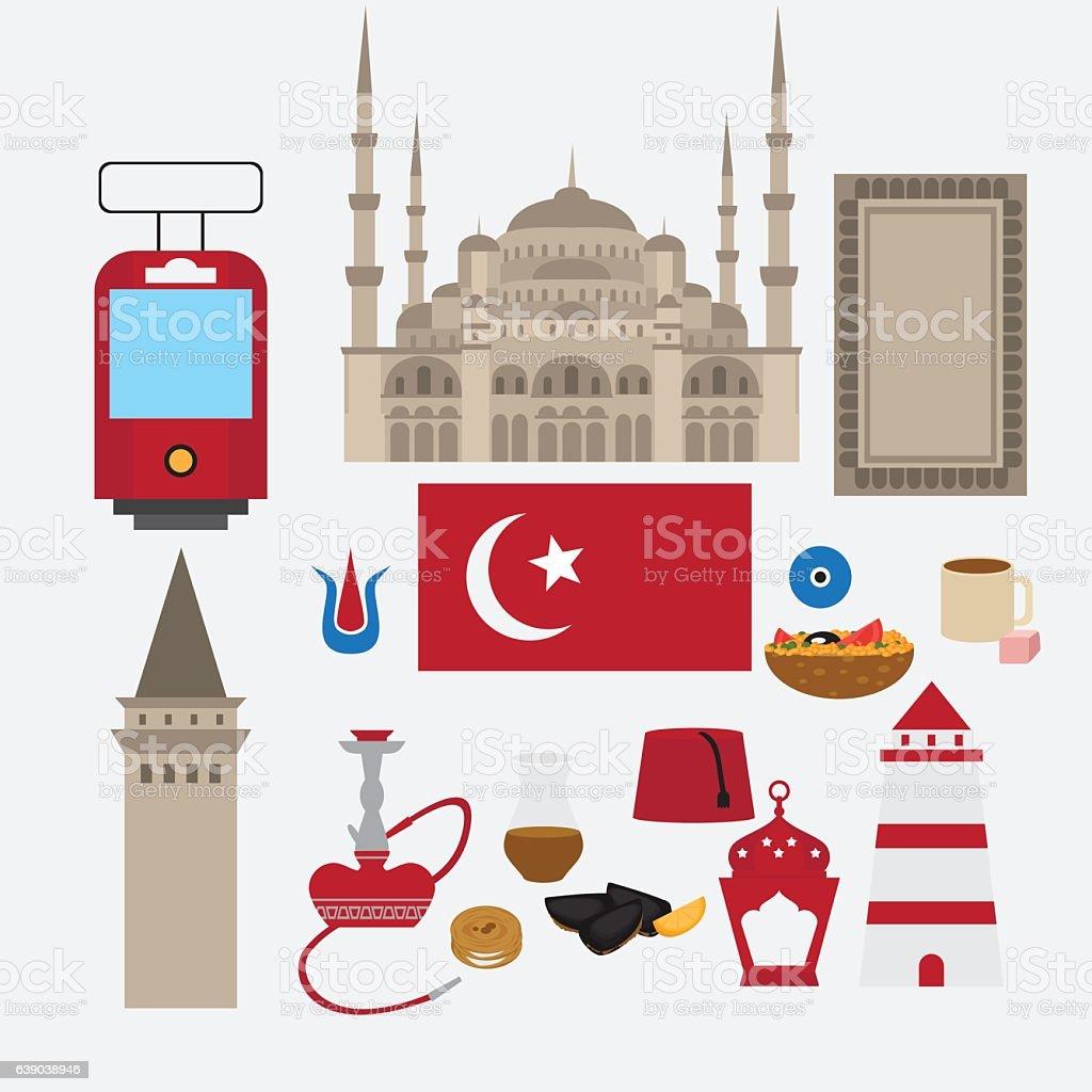 Turkish flat set design elements, Istanbul, Turkey. Architecture and food. vector art illustration