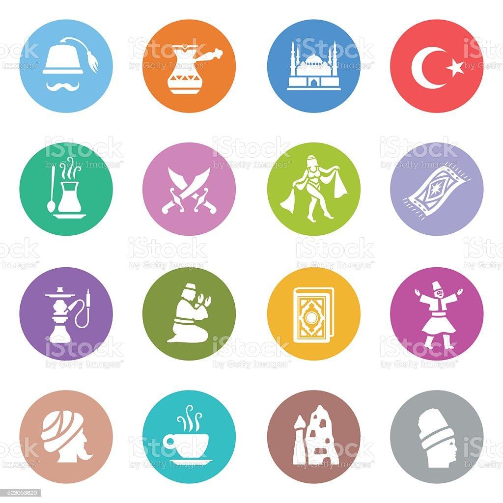 Turkish Icon Set vector art illustration