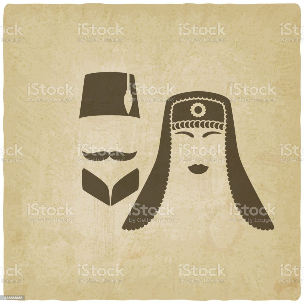 Turkish man and woman old background vector art illustration