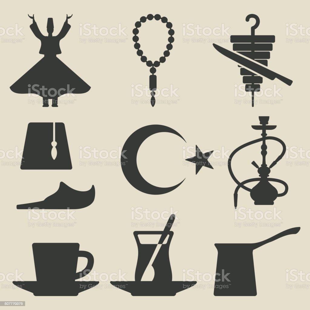 Turkish national icons set vector art illustration
