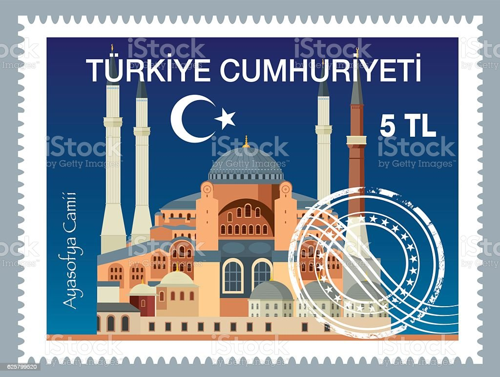Turkish Postage vector art illustration