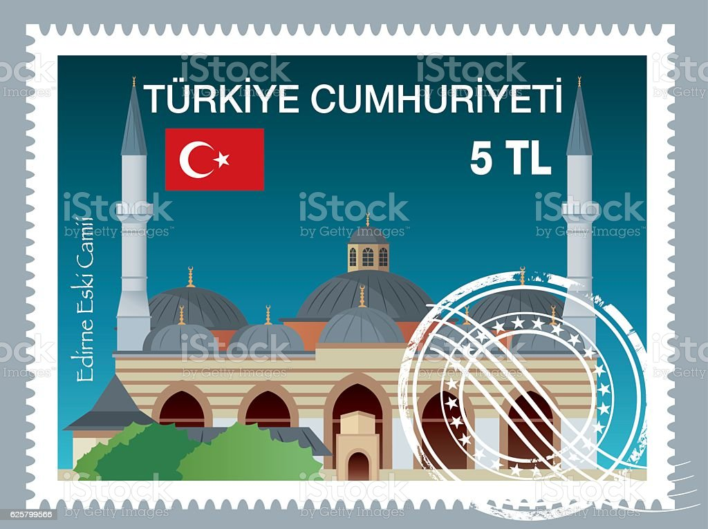 Turkish Stamp (Edirne - Eski Camii) vector art illustration