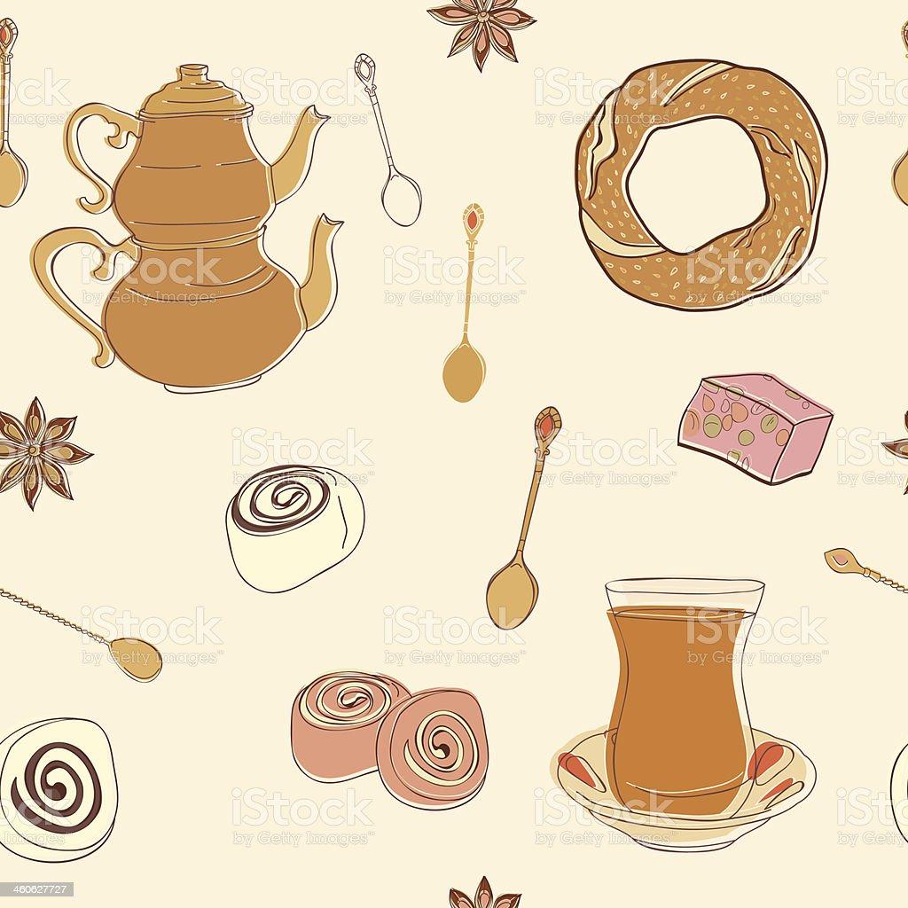 Turco patrón sin costuras de té. illustracion libre de derechos libre de derechos