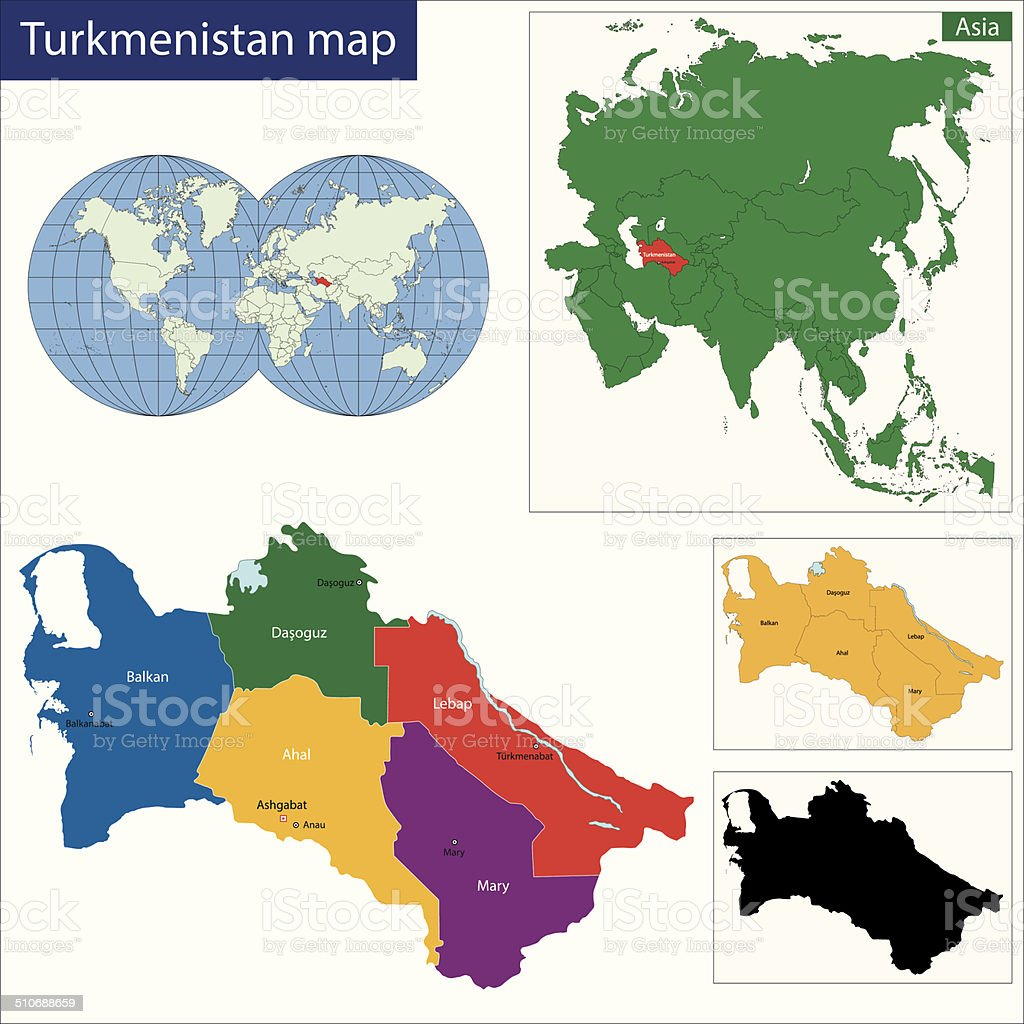 Turkmenistan map vector art illustration