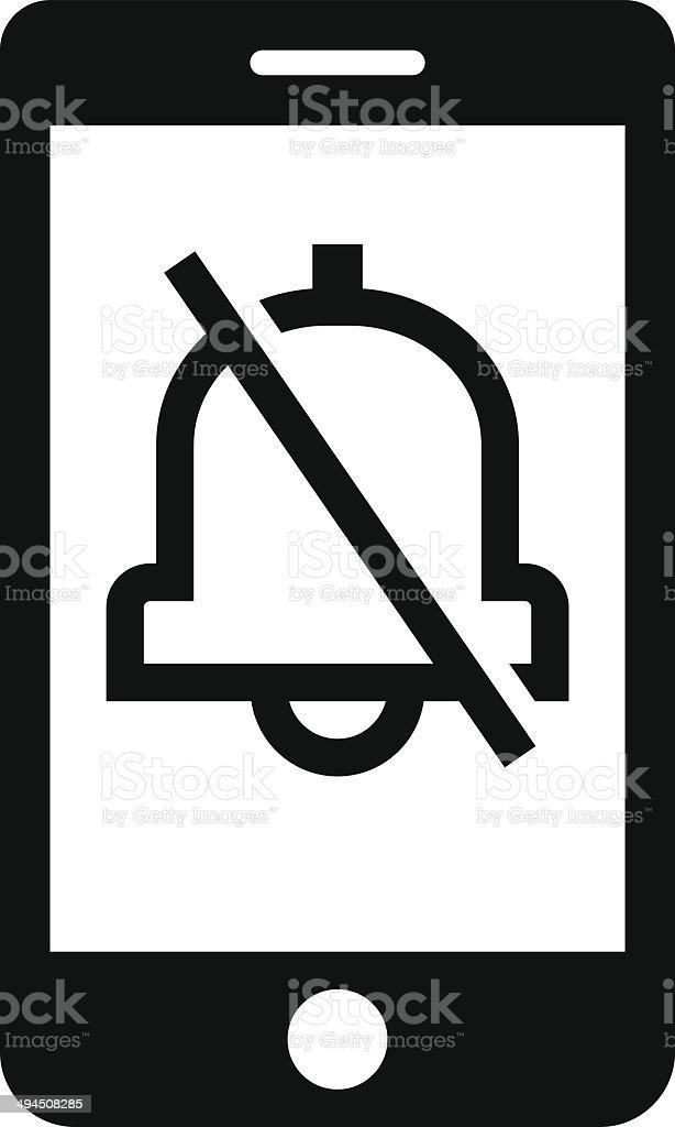 Turn off phone ringer icon vector art illustration