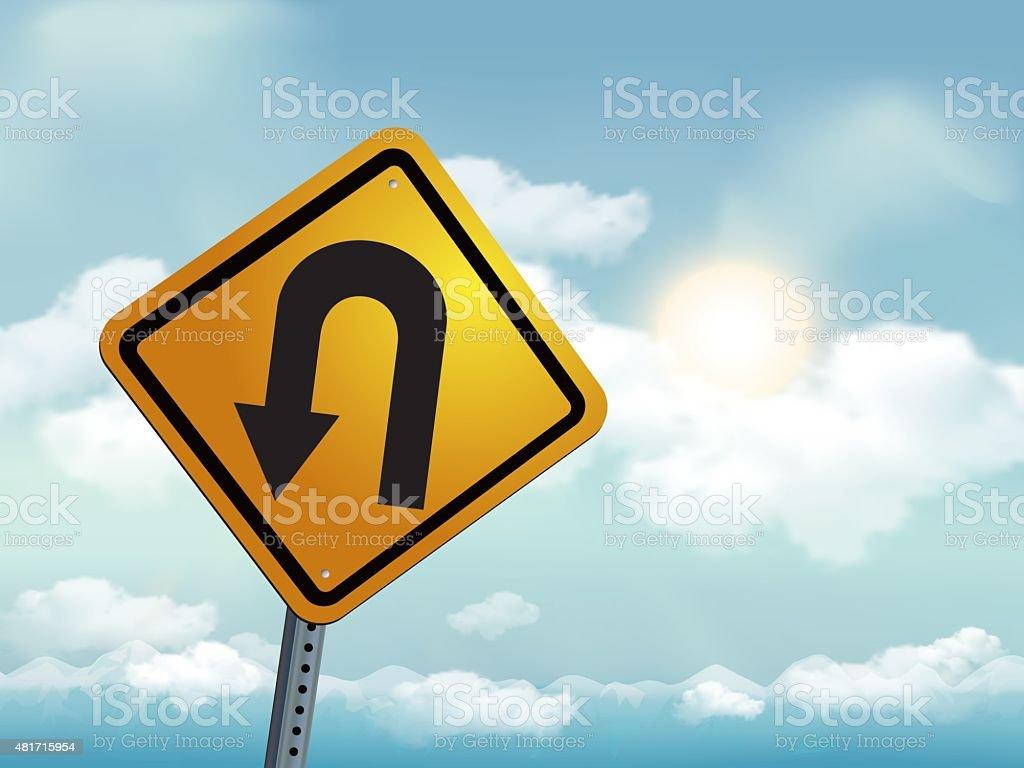 U turn Road Warning Sign vector art illustration