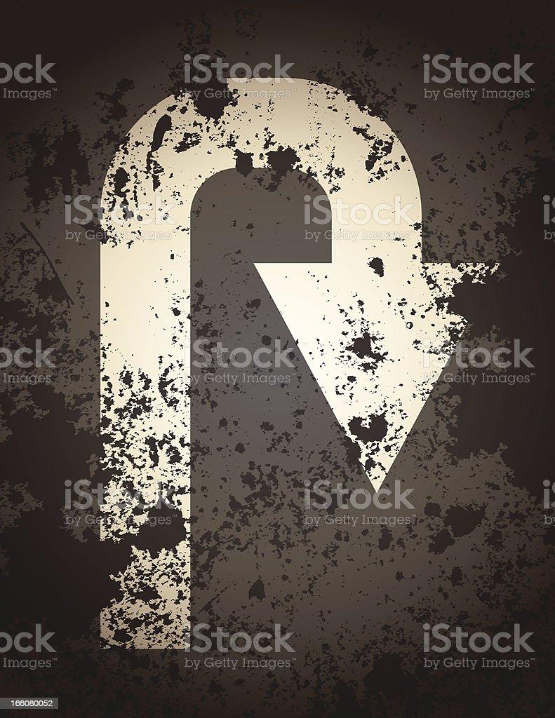 U Turn Signage vector art illustration