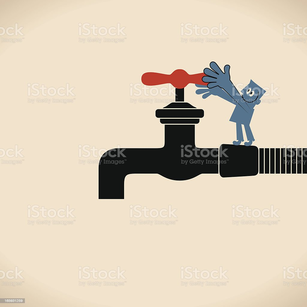 Turning On or Off the Faucet vector art illustration