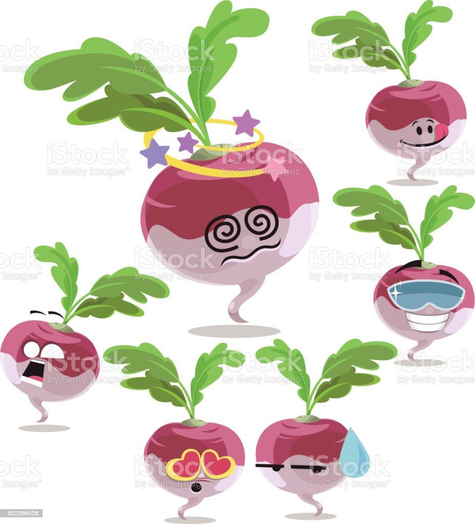 Turnip Cartoon Set A vector art illustration