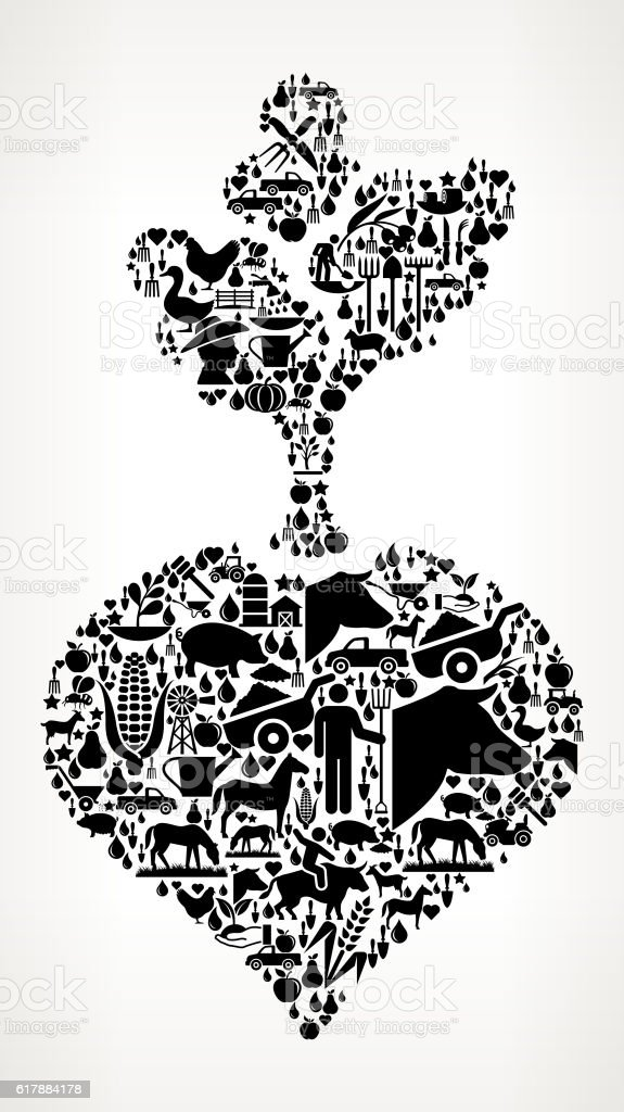 Turnip Farming and Agriculture Black Icon Pattern vector art illustration