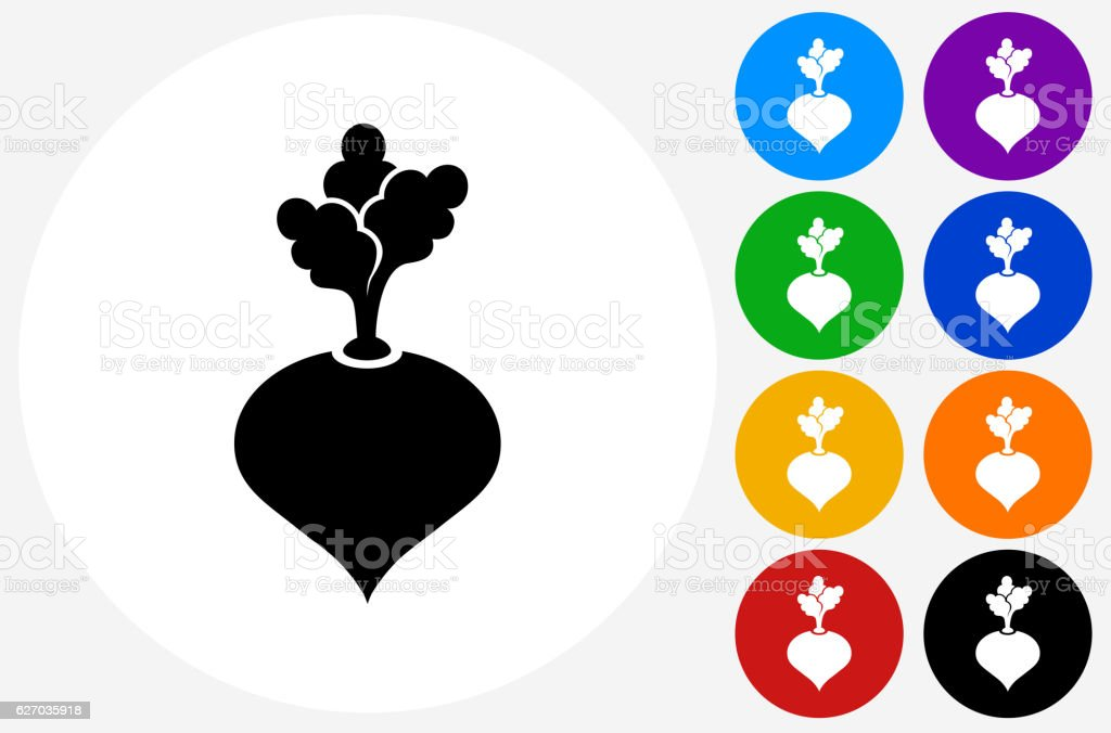 Turnip Icon on Flat Color Circle Buttons vector art illustration
