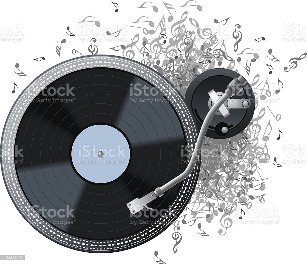 Turntable Explode Music vector art illustration
