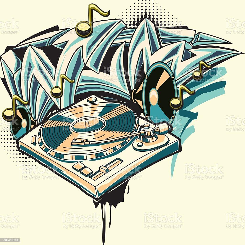 Turntable & graffiti arrows vector art illustration
