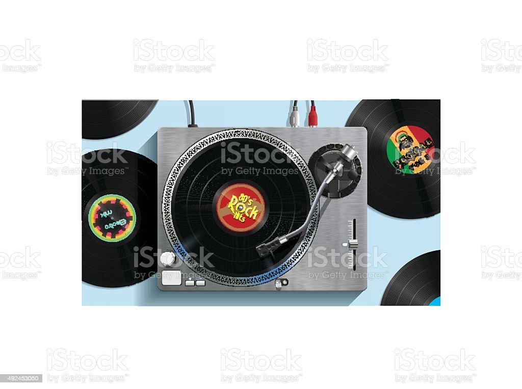 DJ Turntable vector art illustration