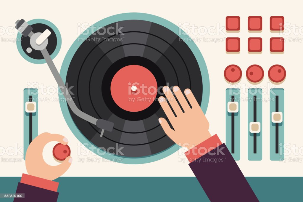 Turntable with dj hands. Modern music flat vector concept background vector art illustration