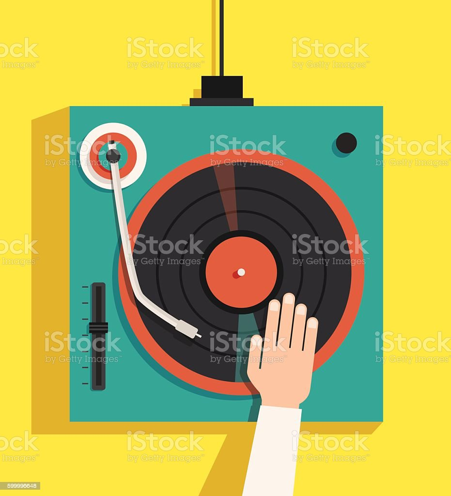 Turntable with dj hands. Vector flat illustration vector art illustration