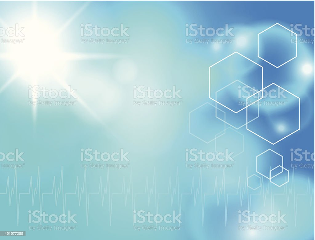 Turquoise abstract background with a sun, EKG, and hexagons vector art illustration