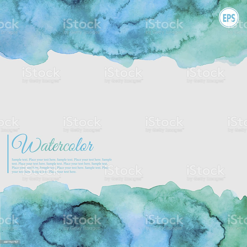Turquoise and blue watercolor abstract frame vector art illustration