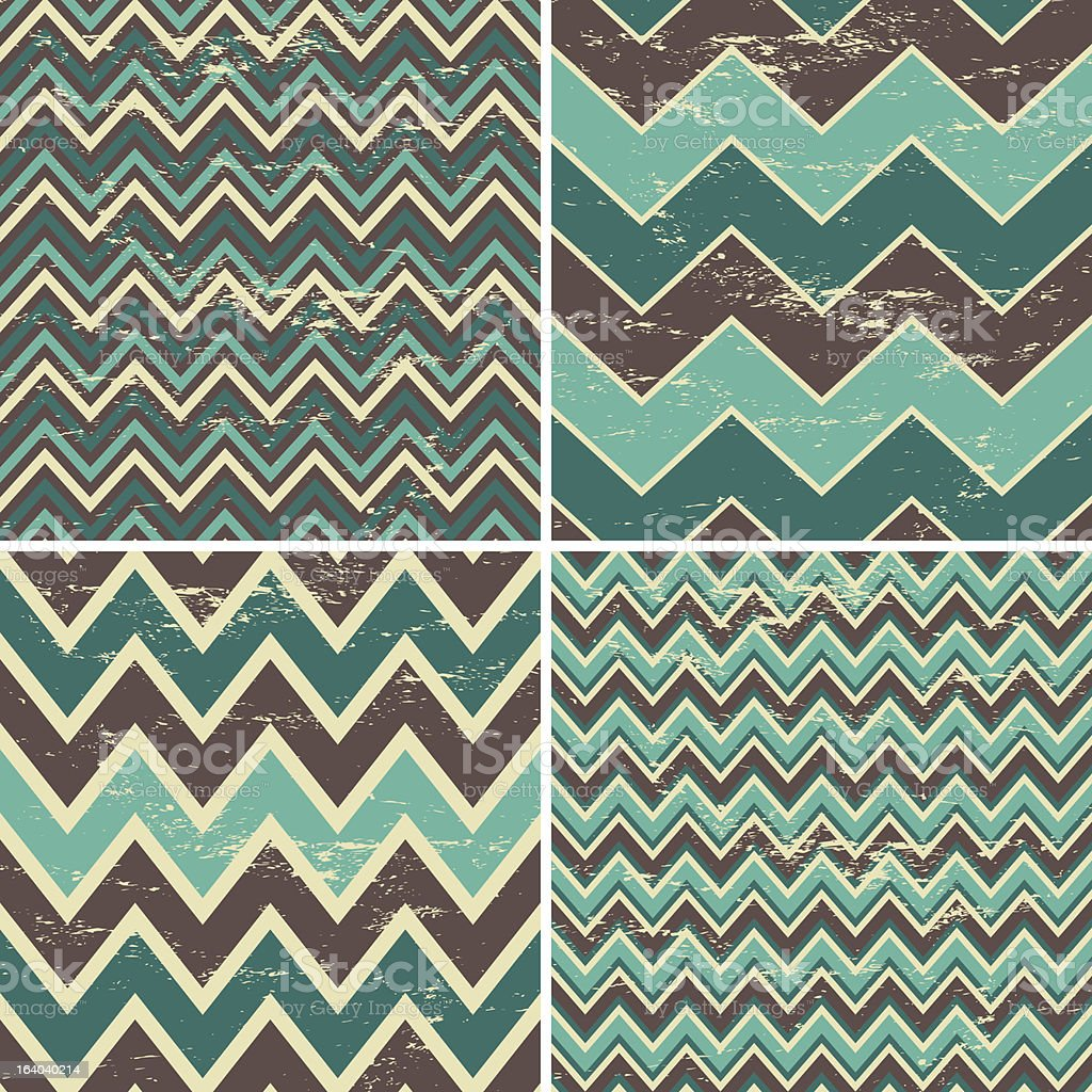 Turquoise and brown chevron pattern collection royalty-free stock vector art