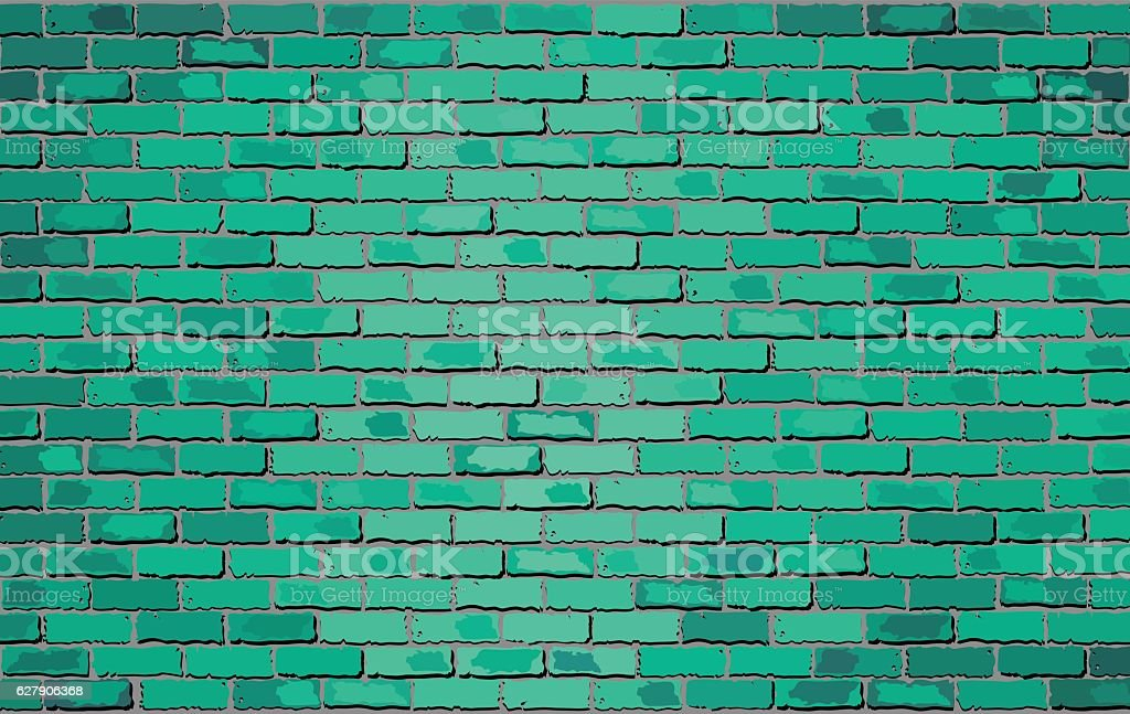 Turquoise brick wall vector art illustration