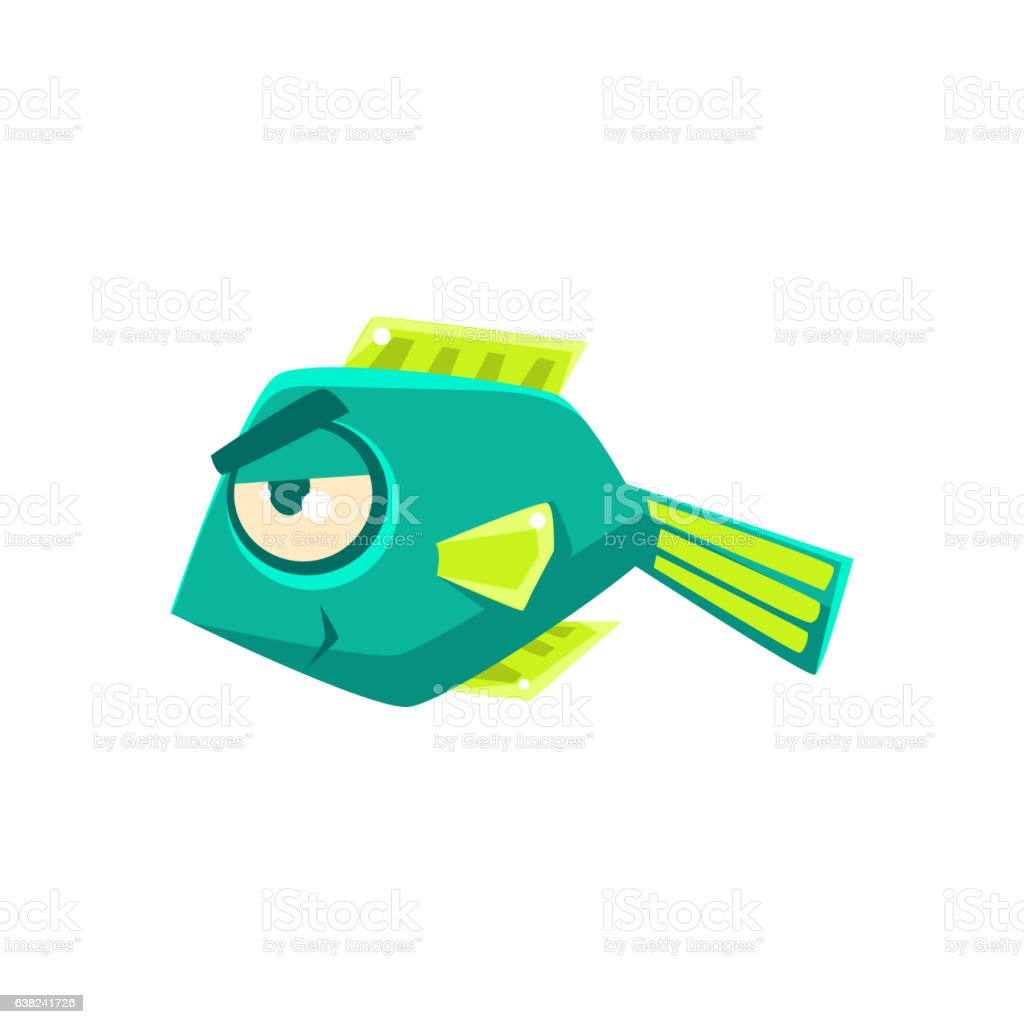 Turquoise Cheeky Fantastic Aquarium Tropical Fish Cartoon Character vector art illustration