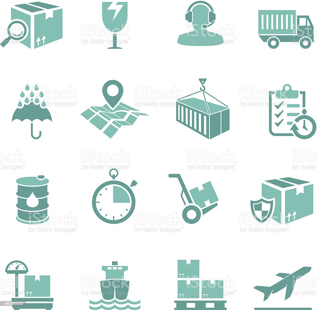 Turquoise Delivery Icon Set vector art illustration