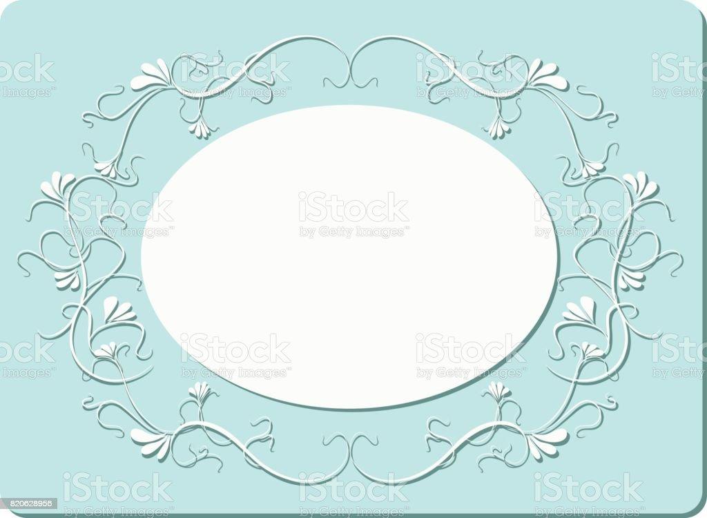 turquoise  floral  frame vector art illustration