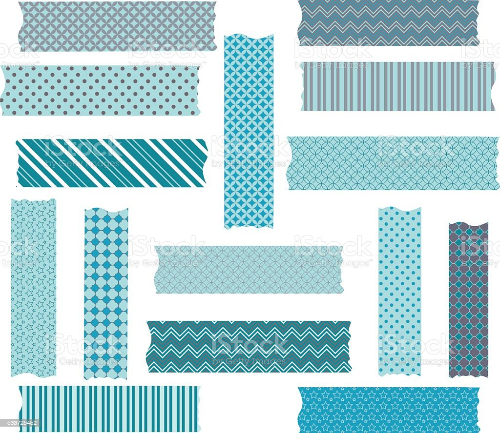 Turquoise Grey Washi Tape Graphics Collections. vector art illustration