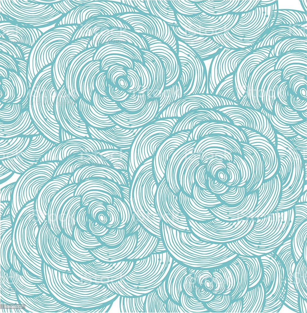 Turquoise linear flowers background royalty-free stock vector art