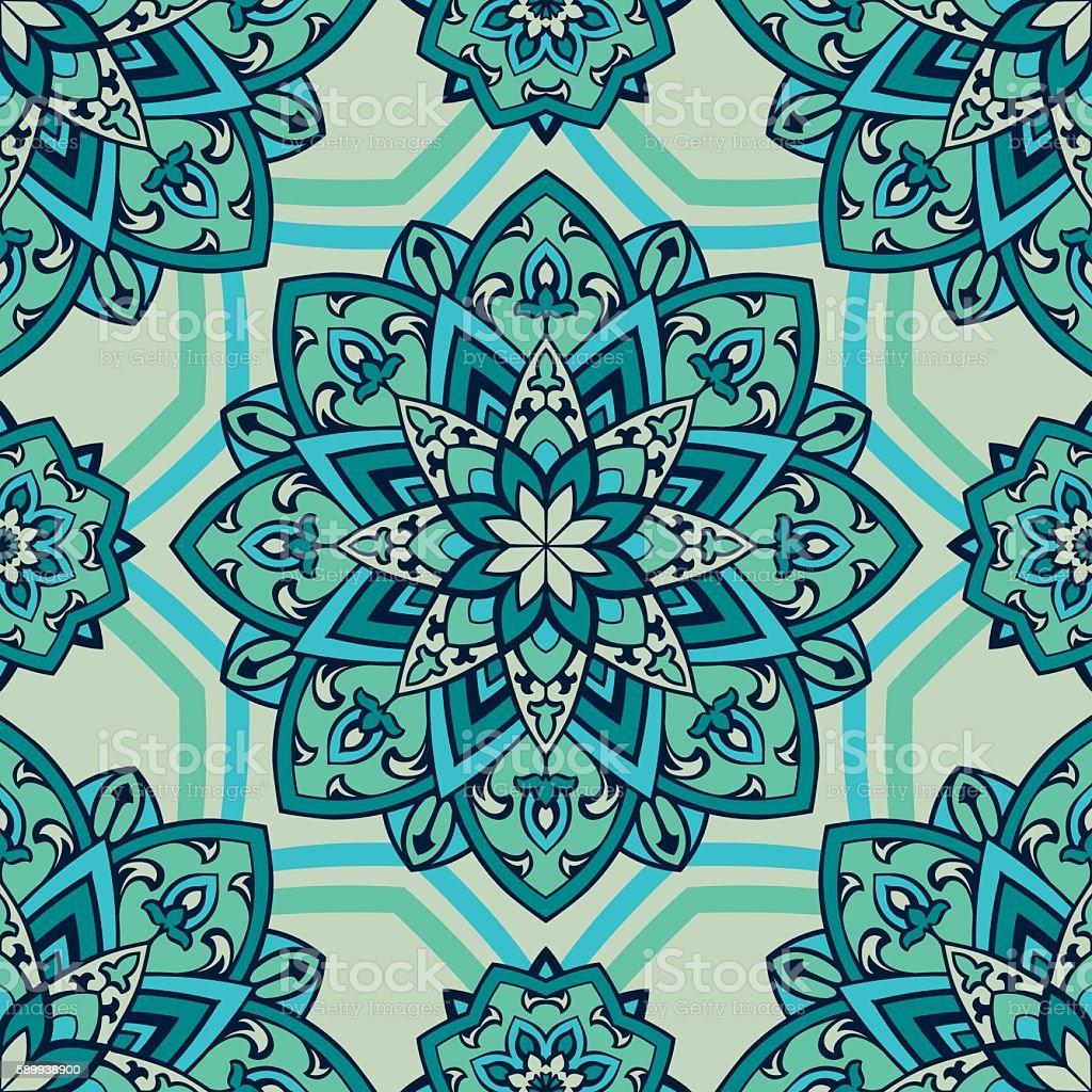 Turquoise oriental ornament. vector art illustration