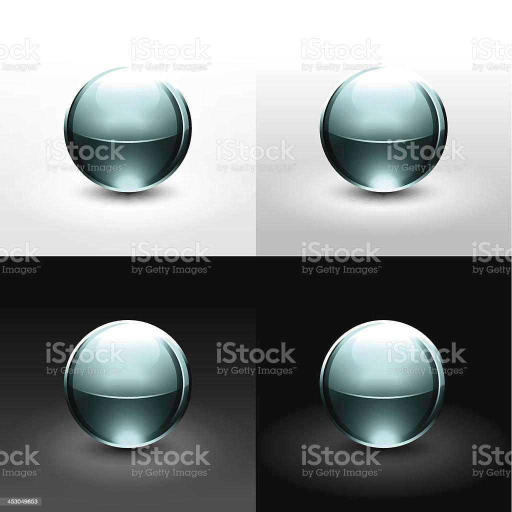 Turquoise sphere glossy ball chrome icon web internet button vector art illustration