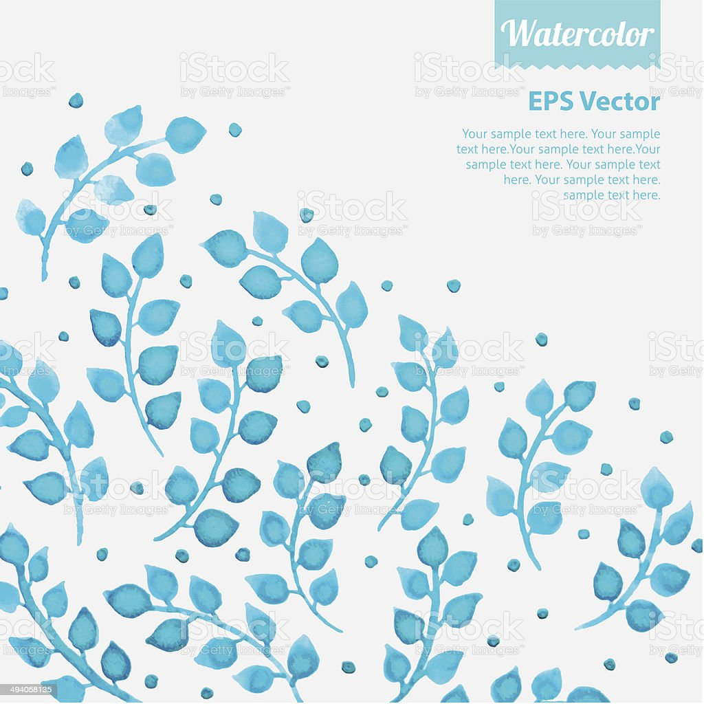 Turquoise watercolor floral pattern with leaves royalty-free stock vector art