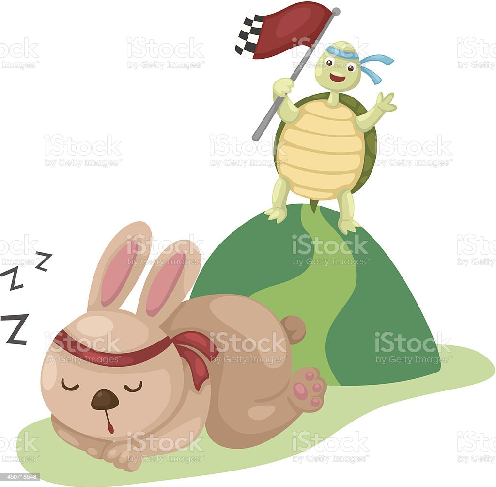 turtle and rabbit running a race vector art illustration