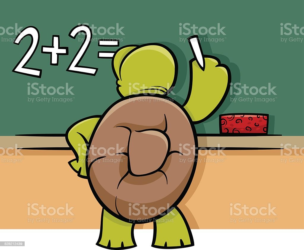 turtle at blackboard cartoon illustration vector art illustration