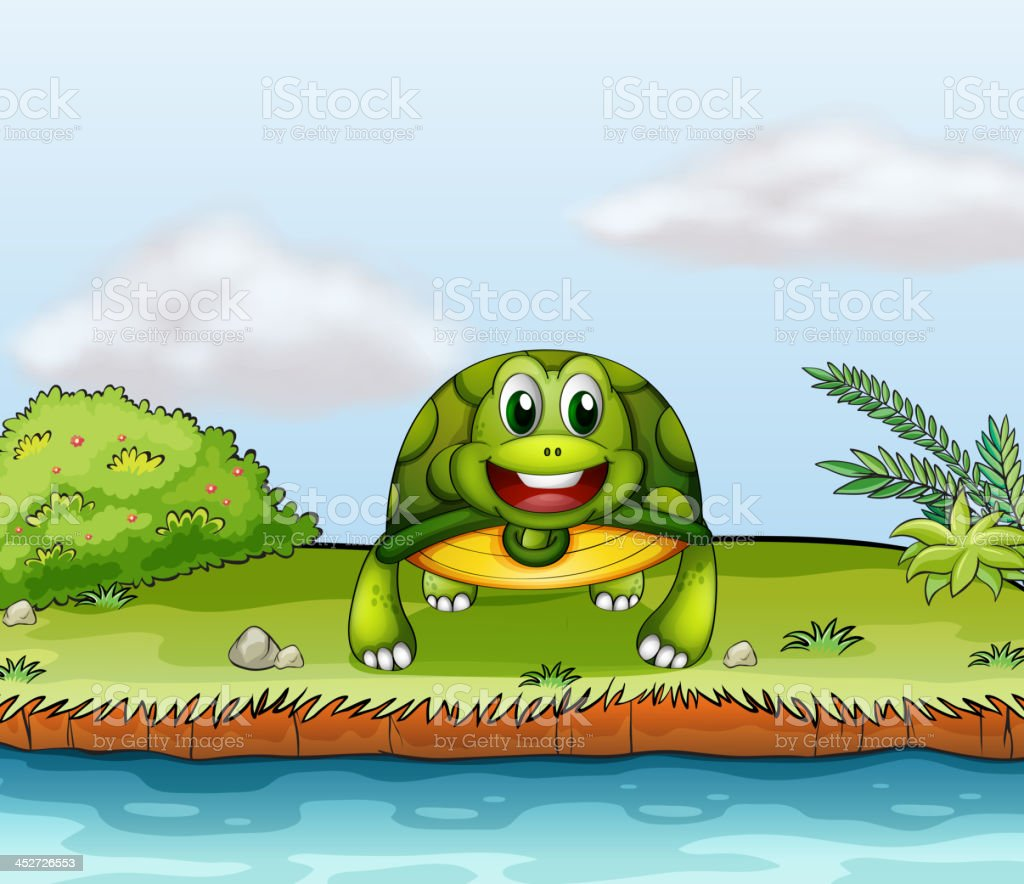 turtle at the riverside royalty-free stock vector art