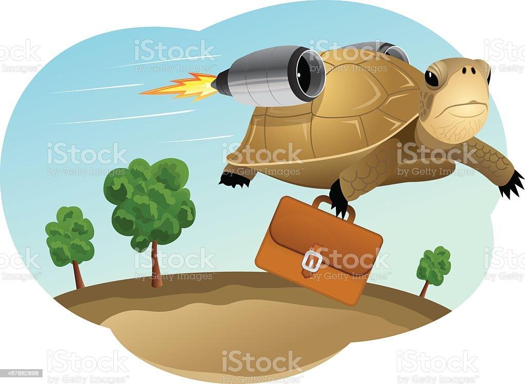 Turtle businessman vector art illustration