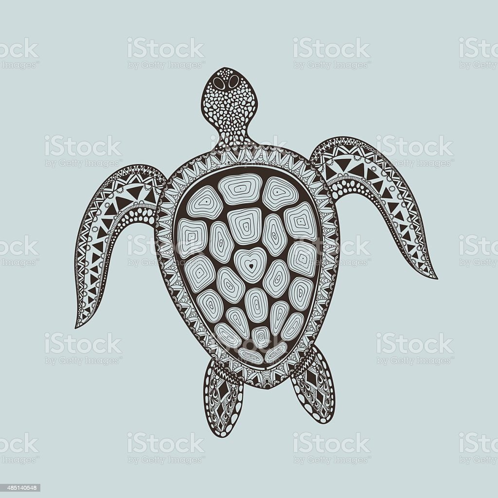 Zentangle stylized turtle. Hand Drawn aquatic doodle vector illu vector art illustration