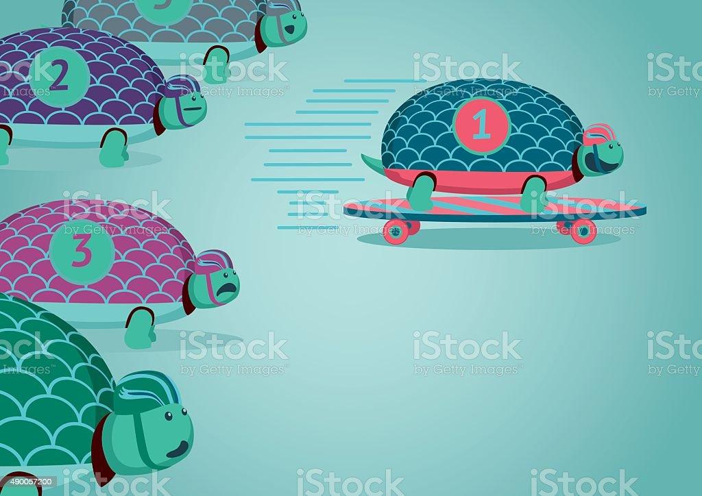 Turtle Races vector art illustration