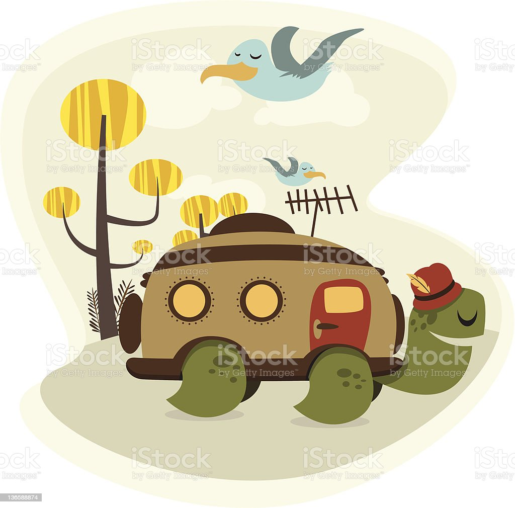 Turtle Road Trip royalty-free stock vector art