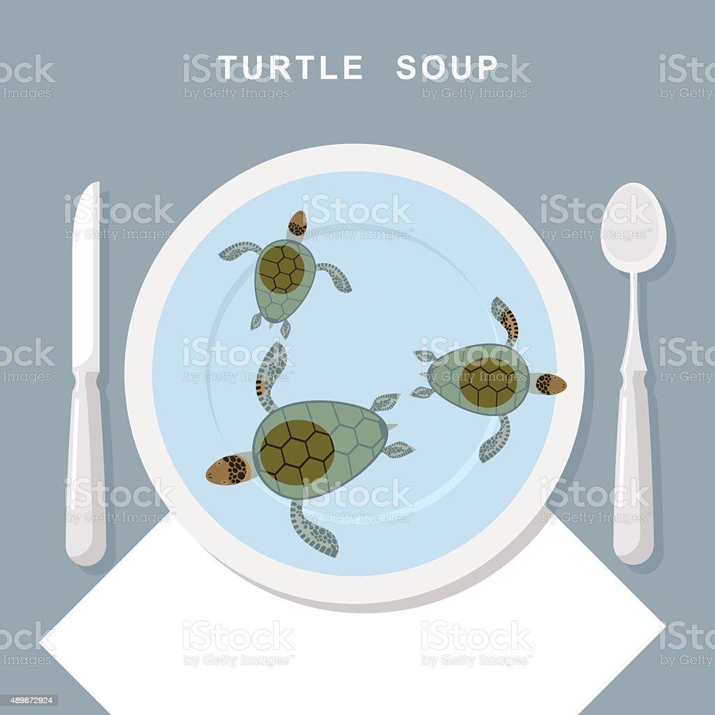 Turtle soup. Sea turtles swim in plate. Exotic popular Food vector art illustration