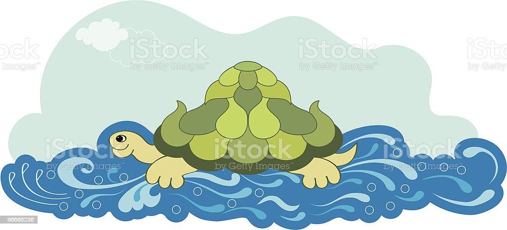 Turtle Swiming royalty-free stock vector art