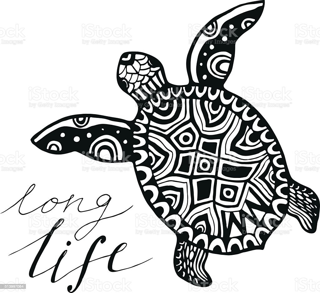turtle with calligraphic quote - Long life. Vector vector art illustration
