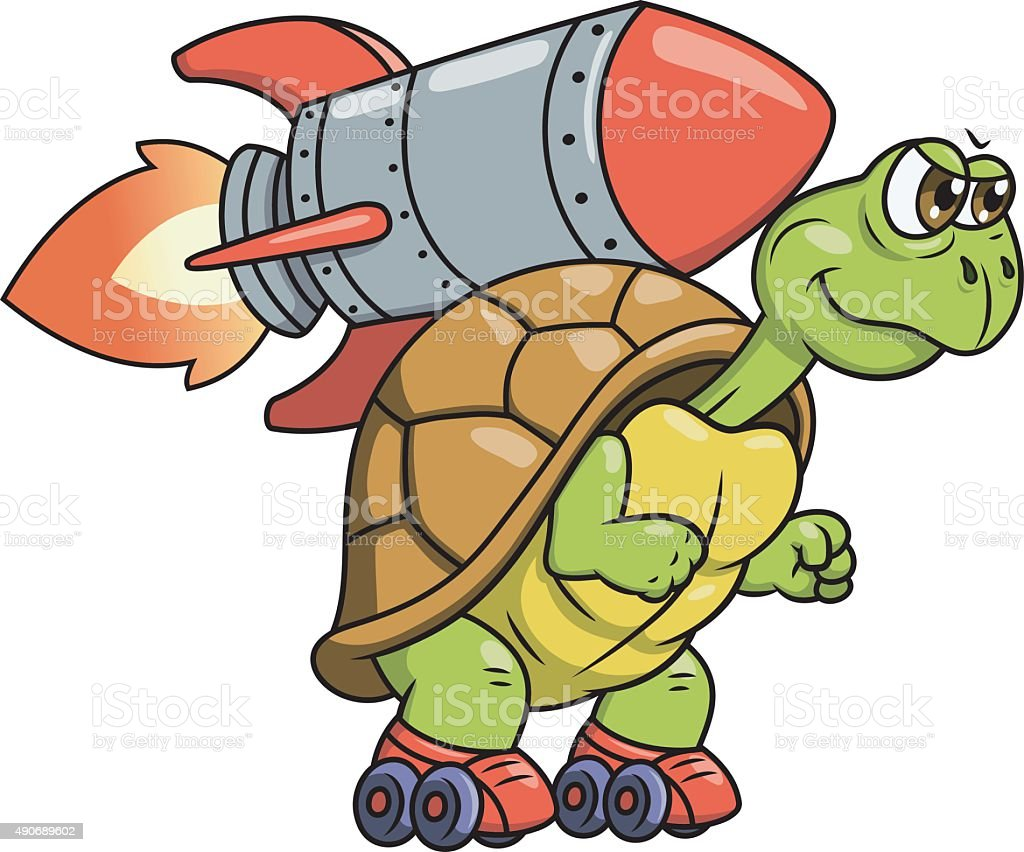 Turtle with rocket 2 vector art illustration
